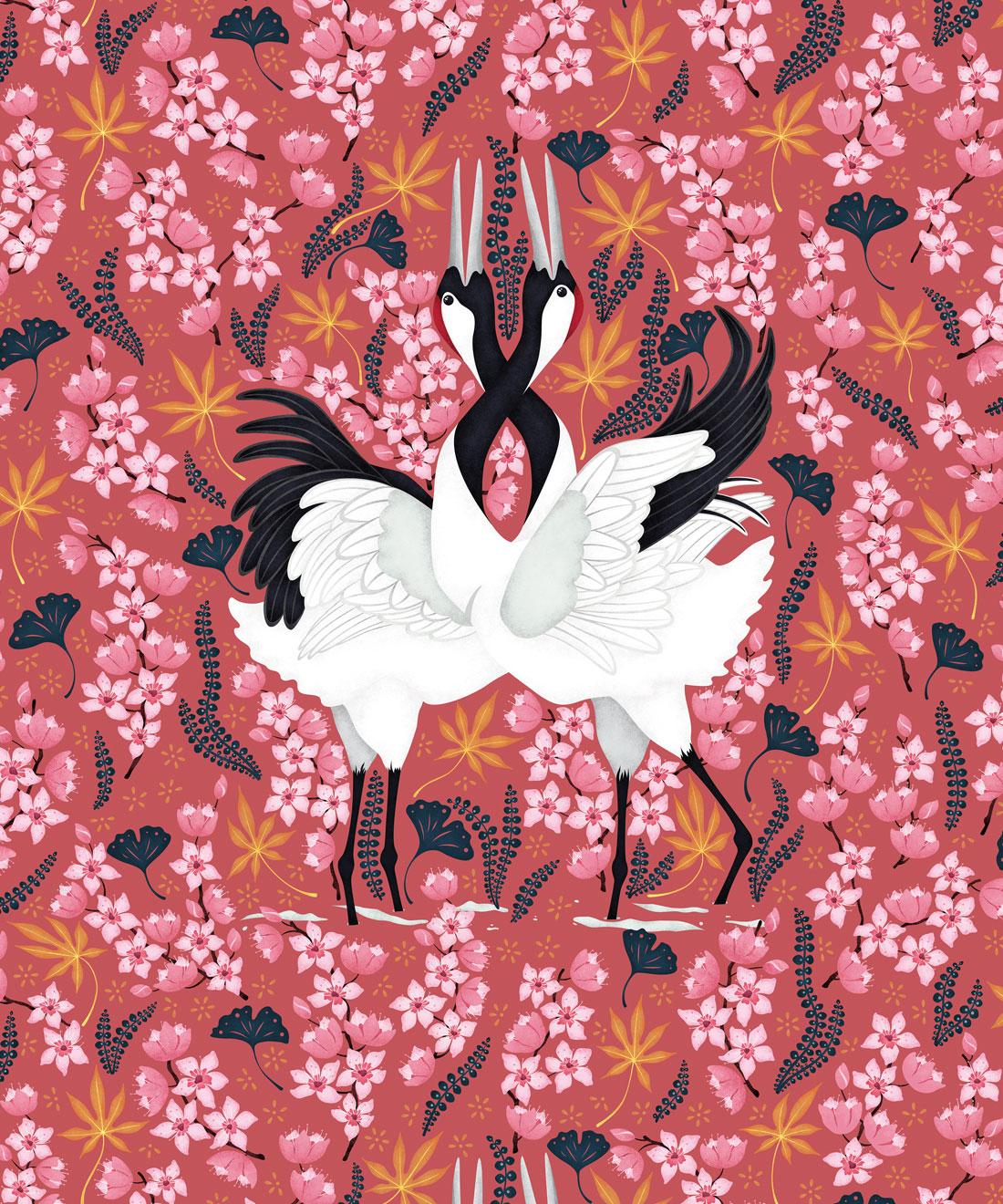 Japanese Cranes Wallpaper Bold Bird Wallpaper Milton King Australia