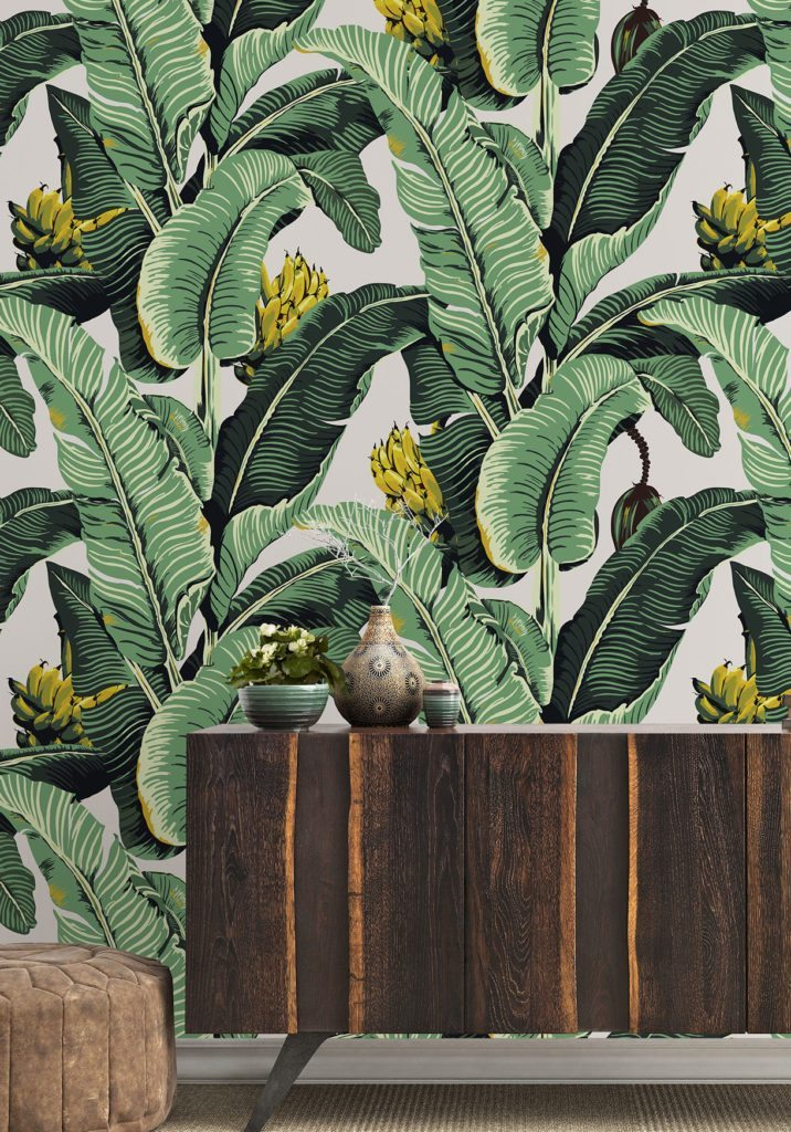 Wallpaper called Jungle Palm with giant leaves and yellow bananas good for creating a tropical vibe