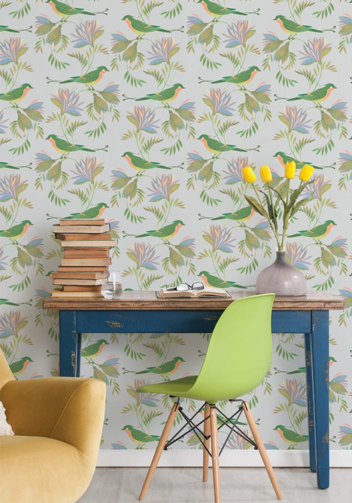 Wallpaper designed by Maria Khersonets manufactured and sold by Milton & King called Winsome showing birds nestling in gorgeous flowers and delicate leaves