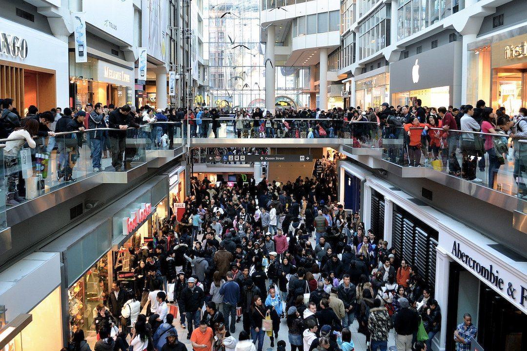 very crowded shopping mall on Black Frida