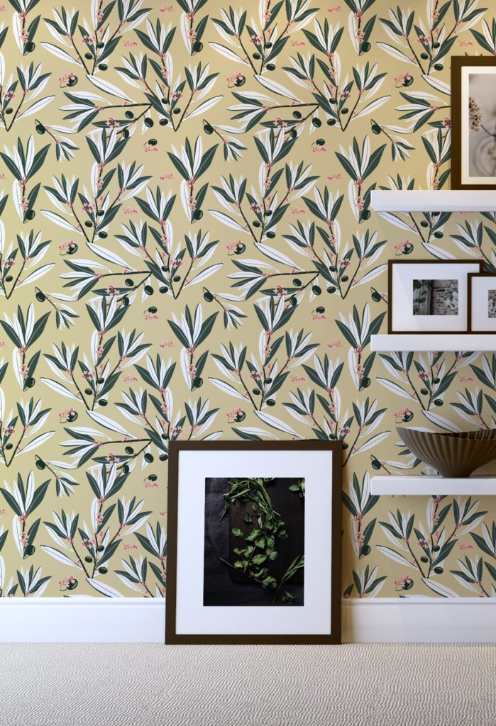 Olive Dapple wallpaper designed by Teresa Chan from Milton & King