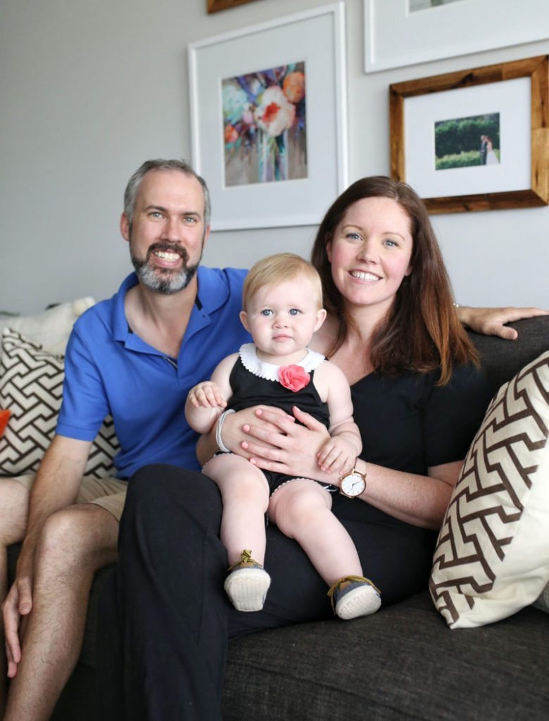 Matt, Sam and Abby looking happy with their new renovated and revealed home designed by Jillian Harris