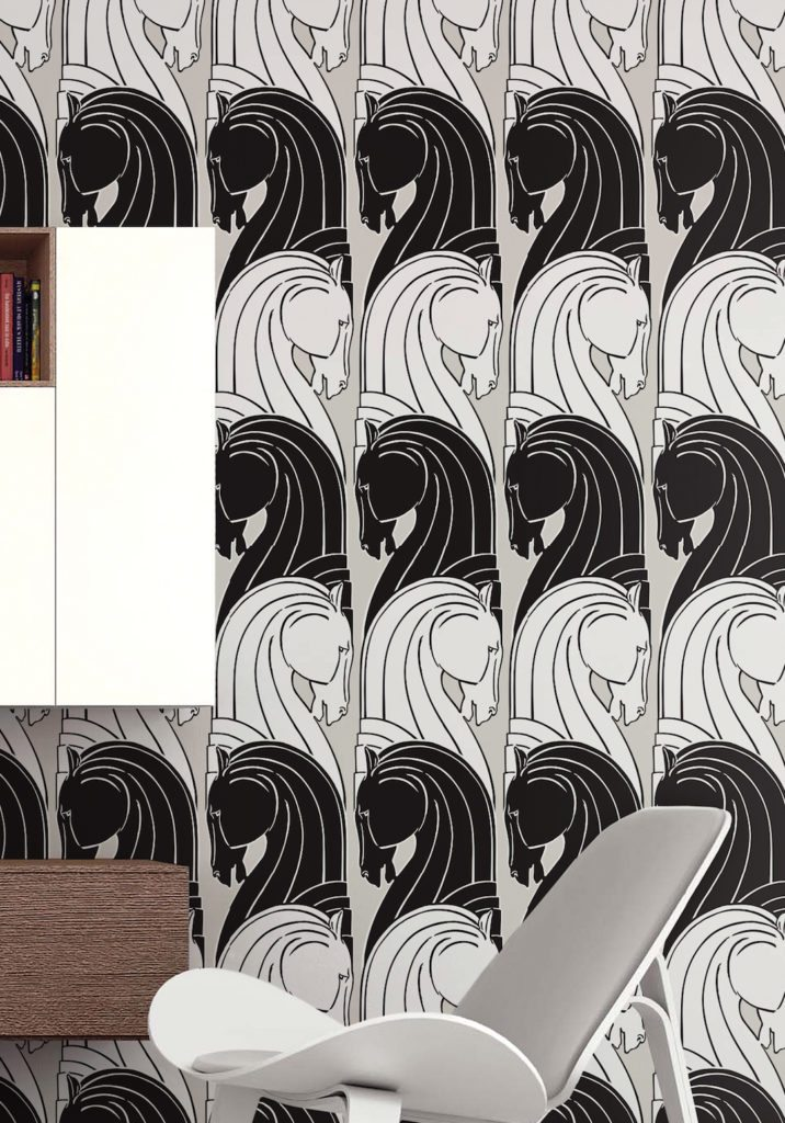 Cavalry by Kingdom Home Wallpaper manufactured and sold by Milton & King showing horse chess pieces