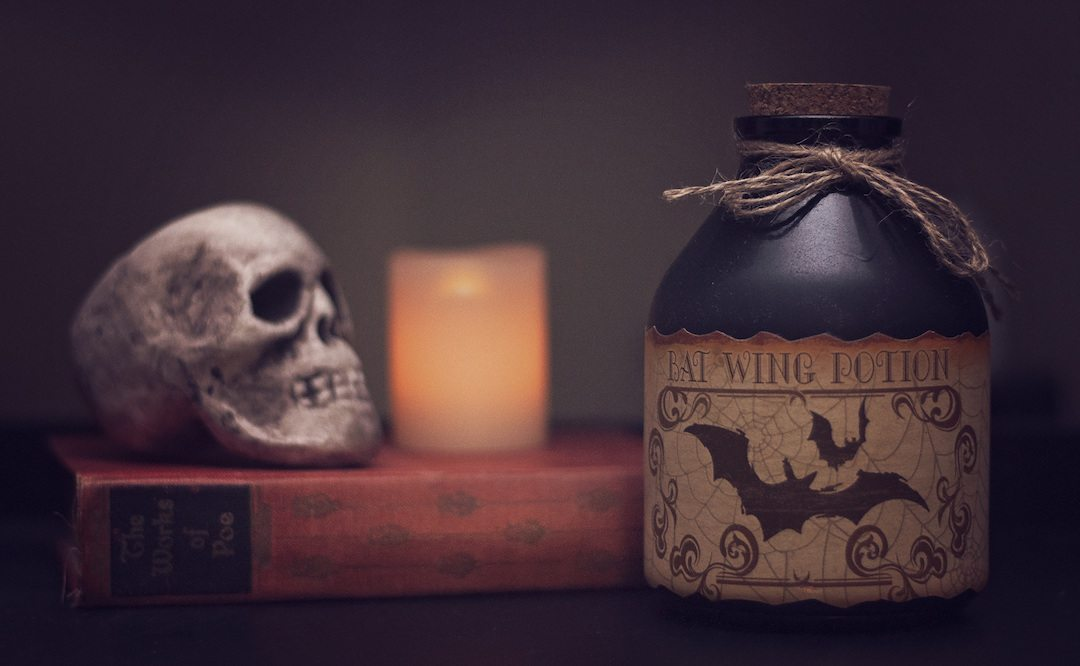 spooky photo of bat wing potion and skull on a book