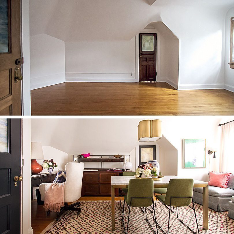 a before and after shot. On top is an empty room with bare walls. The bottom shows a fully furnished room with a white office chair on the left in front of a dark wooden desk, olive green chairs seated at a table in the middle of the room with flowers on top, a gray sofa on the right with pink pillows and a golden lamp hanging from the ceiling.
