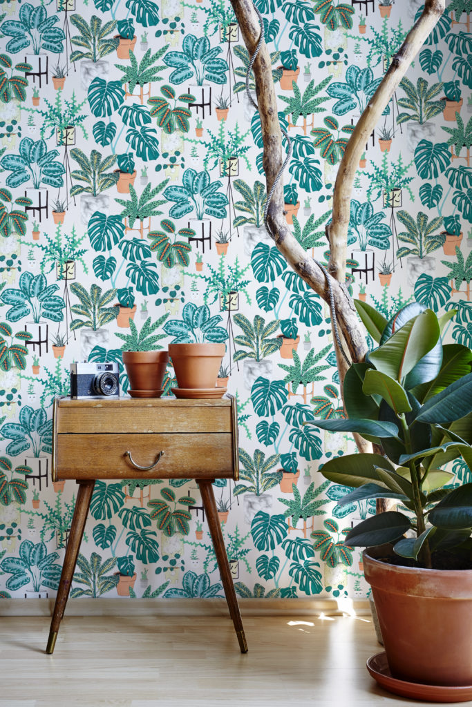 House Plants Wallpaper by Jacqueline Colley featuring luscious green potted plants