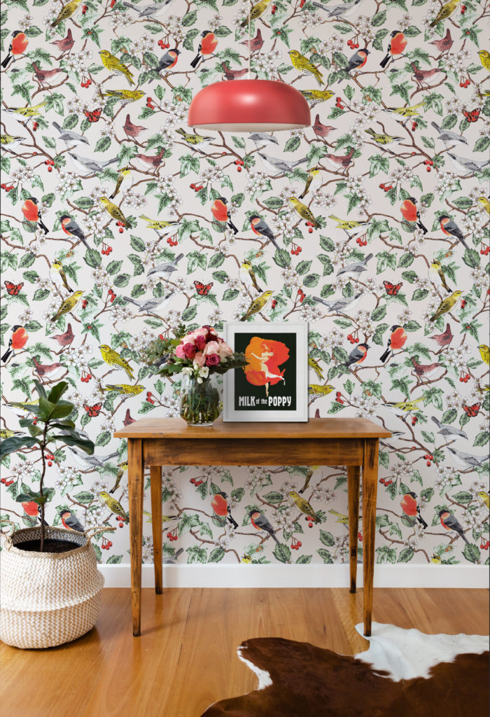 Hawthorn wallpaper by Jacqueline Colley featuring birds, ladybugs perched on branches