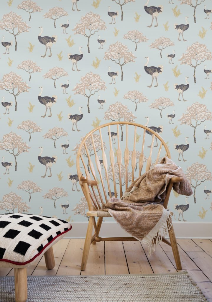 Ostrich Savanah wallpaper designed by Teresa Chan for Milton & King