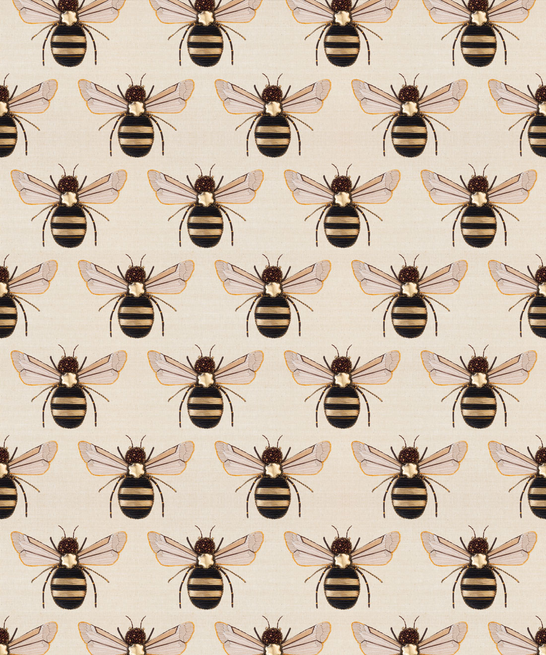 Golden Bee Embroidery Removable Wallpaper Milton King