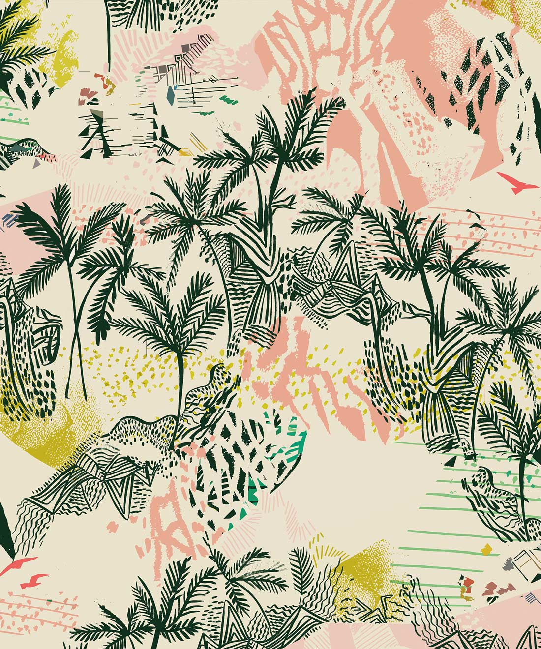 Queen Palm Removable Wallpaper Colorful Palms Milton King
