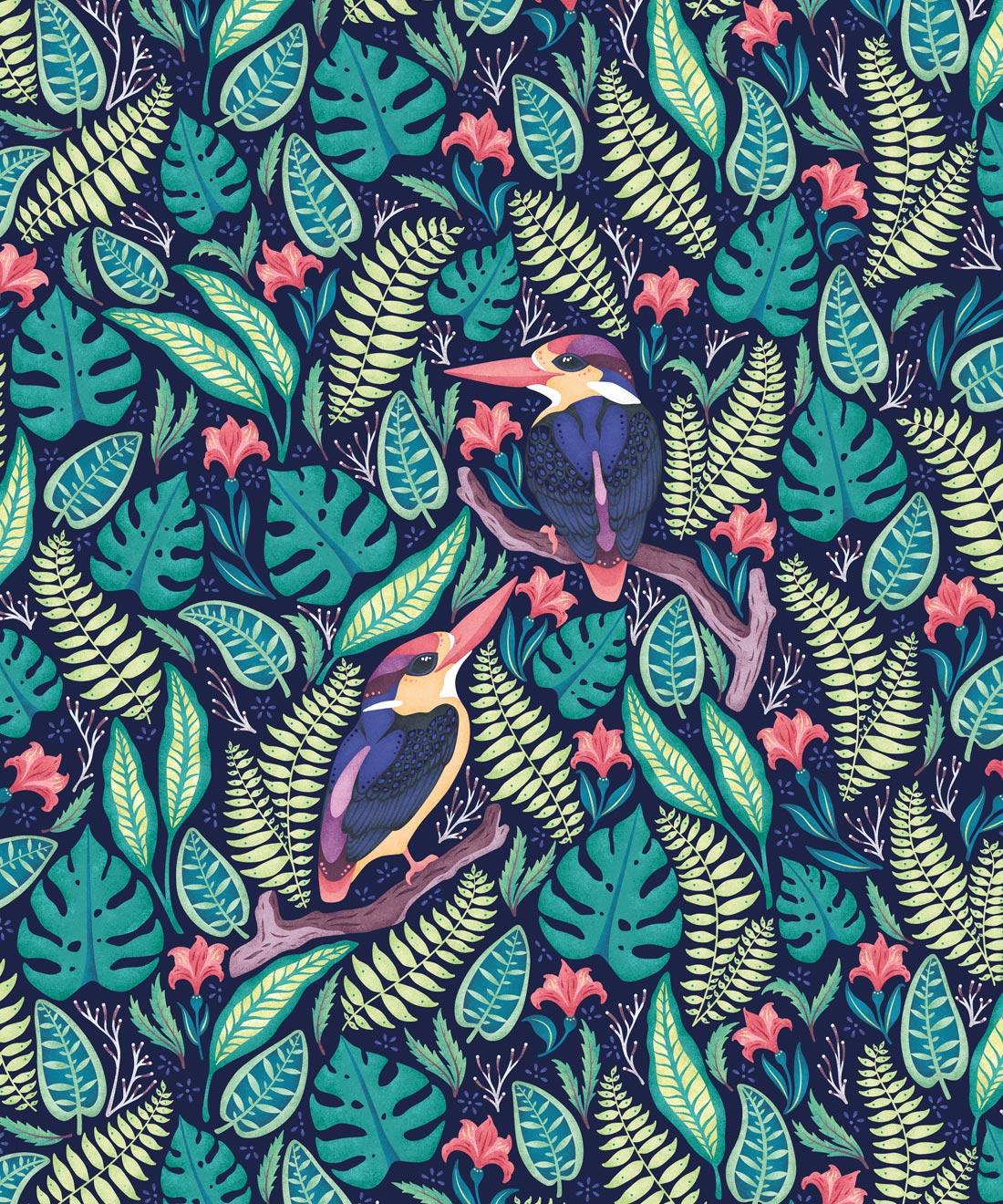 Exotic Kingfishers Wallpaper