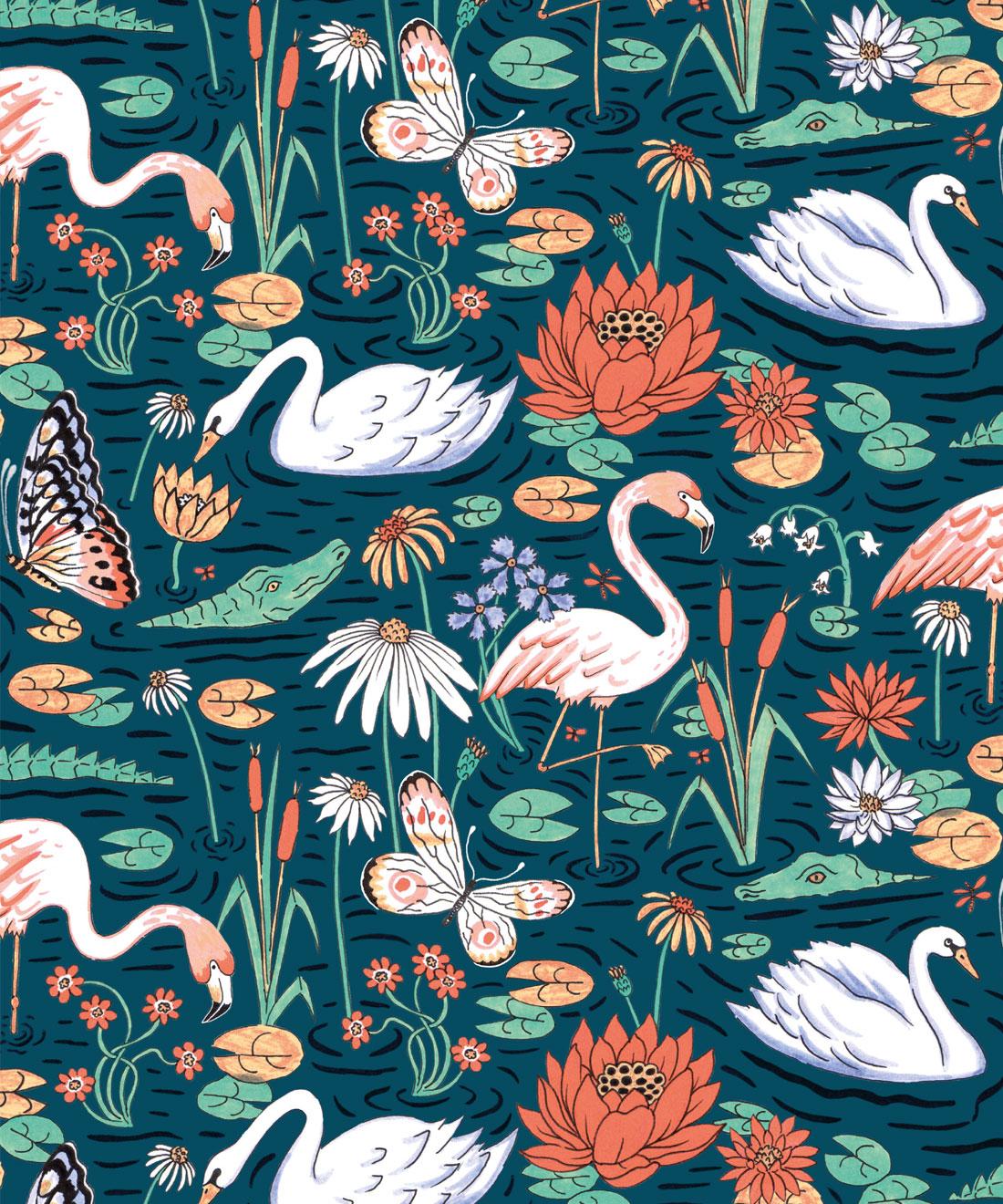 Pond Pattern Wallpaper Animal Wallpaper Milton King Usa
